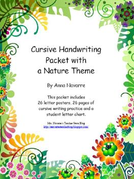 Cursive Handwriting Packet with a Nature Theme