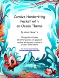 Cursive Handwriting Packet with an Ocean Theme