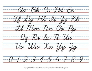 cursive handwriting posters letters and numbers by steve. Black Bedroom Furniture Sets. Home Design Ideas