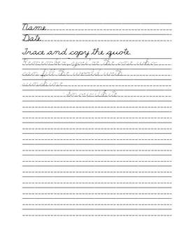 Cursive Handwriting Practice: 15 Quotes from Disney
