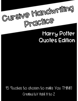 Cursive Handwriting Practice: 15 Quotes from Harry Potter