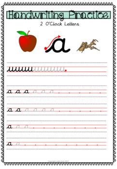 Cursive Handwriting Practice - 2 o'clock Letters