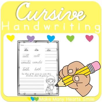 Cursive Handwriting Practice- 2nd Grade Words     MMHS15