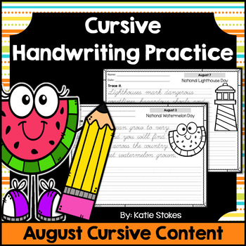Cursive Handwriting Practice - August Holidays