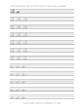 Cursive Handwriting Practice Copybook for Teens