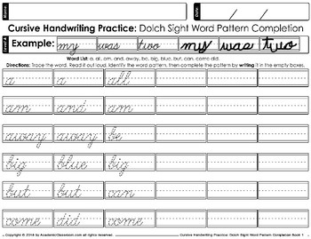 Cursive Handwriting Practice Dolch Sight Words Pattern Completion Level A