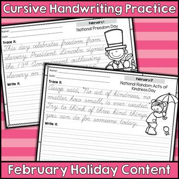 Cursive Handwriting Practice - February