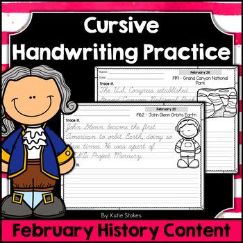 Cursive Handwriting Practice - February History