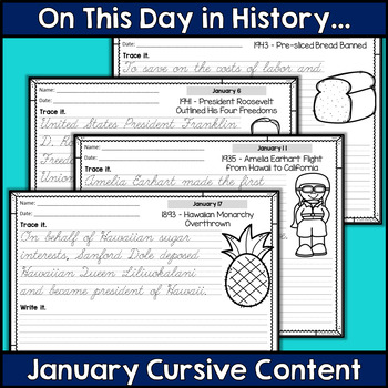 Cursive Handwriting Practice - January History