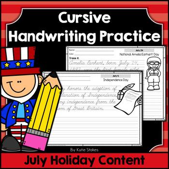 Cursive Handwriting Practice - July