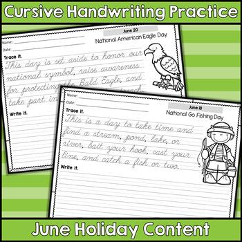 Cursive Handwriting Practice - June