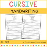 Cursive Handwriting Practice - K - 3rd