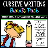 Cursive Handwriting Practice - Life Skills - Writing - Special Education BUNDLE
