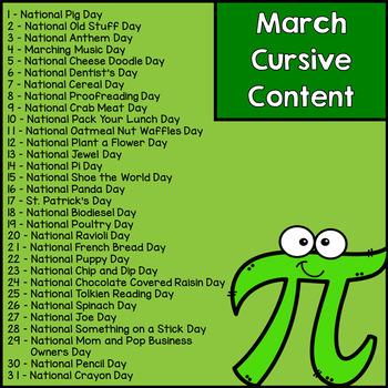 Cursive Handwriting Practice - March Holidays