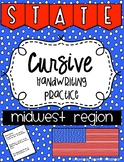 States and Capitals Cursive Handwriting Practice Midwest Region