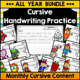 Cursive Handwriting Practice - Monthly Holiday Content BUNDLE