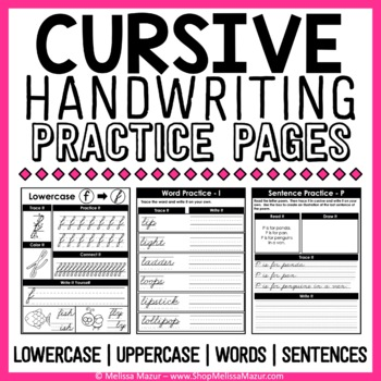 cursive handwriting practice pages by melissa mazur tpt. Black Bedroom Furniture Sets. Home Design Ideas