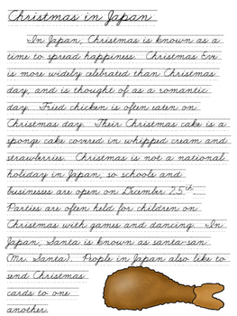 Cursive Handwriting ~ Practice Pages ~ Christmas Around the World ~ 8 Pages!