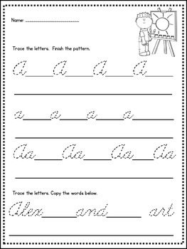 Cursive Handwriting Practice Pages from A-Z