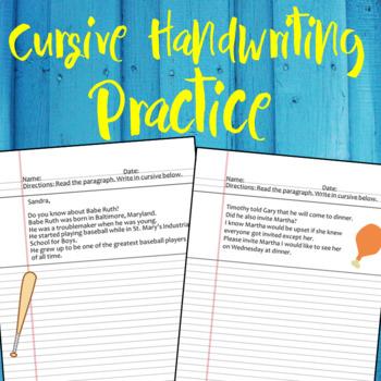 Cursive Handwriting Practice Paragraph Worksheets & Teaching