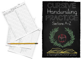 Cursive Handwriting Practice, Sections A-Z