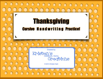Cursive Handwriting Practice - Thanksgiving Pilgrims Mayflower Native Americans