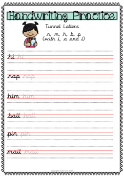 Cursive Handwriting Practice - Tunnel Letters