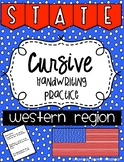 States and Capitals Cursive Handwriting Practice Western Region