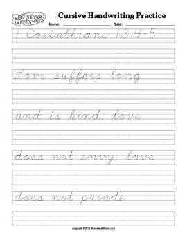 cursive handwriting practice and copying i corinthians 13 4 by sarah cummings. Black Bedroom Furniture Sets. Home Design Ideas