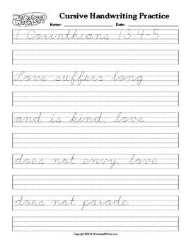 Cursive Handwriting Practice and Copying I Corinthians 13:4