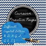 Cursive Handwriting Practice Worksheets (difficult capital