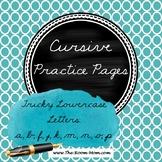 Cursive Handwriting Practice Worksheets (difficult lowerca