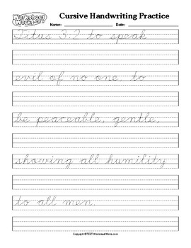 Cursive Handwriting Practice For Both Tracing And Copying