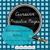 Cursive Handwriting Practice Worksheets (lowercase vowel letters)
