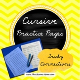 Cursive Handwriting Practice Worksheets (tricky connections)