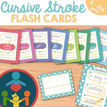 Cursive Handwriting Practice : Stroke Flash Cards for Kindergarten