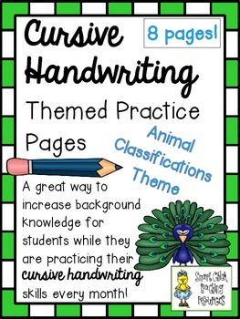 Cursive Handwriting ~ Themed Practice Pages ~ Animal Classifications ~ 8 Pages!