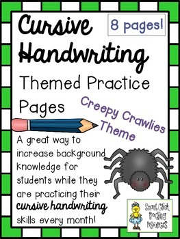 Cursive Handwriting ~ Themed Practice Pages ~ Creepy Crawlies ~ 8 Pages!