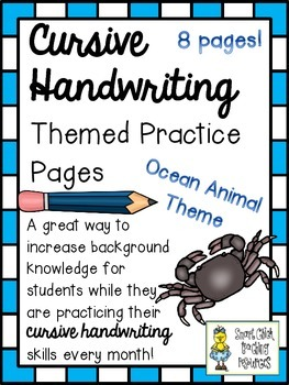 Cursive Handwriting ~ Themed Practice Pages ~ OCEAN Animals ~ 8 Pages!