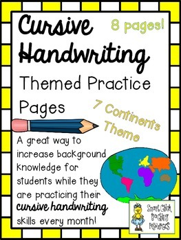 Cursive Handwriting ~ Themed Practice Pages ~ Seven Continents ~ 8 Pages!