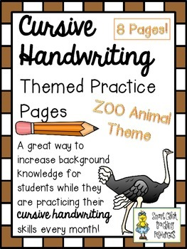 Cursive Handwriting ~ Themed Practice Pages ~ ZOO Animals ~ 8 Pages!
