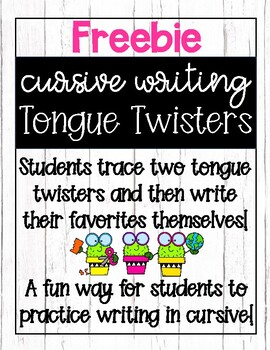 Cursive Handwriting: Tongue Twister Freebie