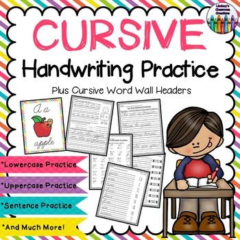 Cursive Handwriting Practice ~ Upper & Lowercase, Sentences, & More! Print & Go!