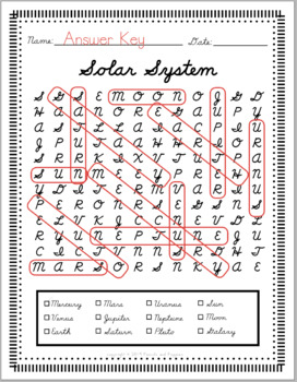 Cursive Handwriting WORD SEARCH solar system space | D'Nealian cursive literacy