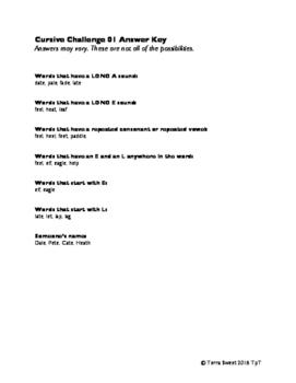 Cursive Handwriting + Word Study Challenge