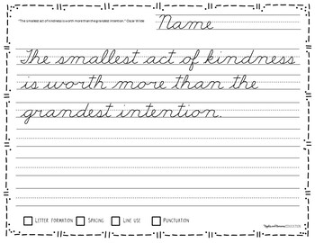 Handwriting Worksheets - 60 Days of Cursive Copywork Practice