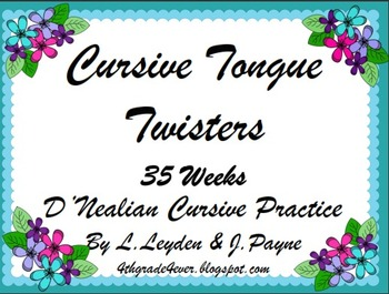 Cursive : Jokes, Limericks and Tongue Twister (3 pack) 35 weeks of Each!