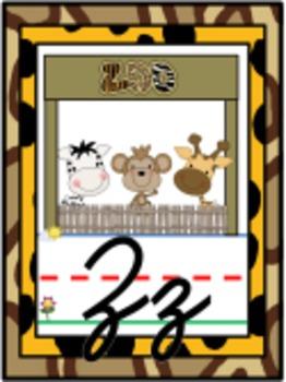 Cursive Jungle Safari Alphabet Line Posters A-Z