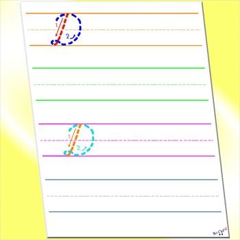 Alphabet in Cursive -  Cursive D