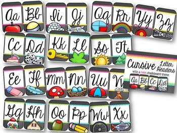 Cursive Letter Headers {Neon Chalkboard Theme}